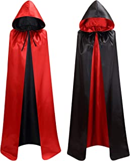 Unisex Reversible Hooded Cloak Cape for Christmas Halloween Party Vampires Cosplay Costumes