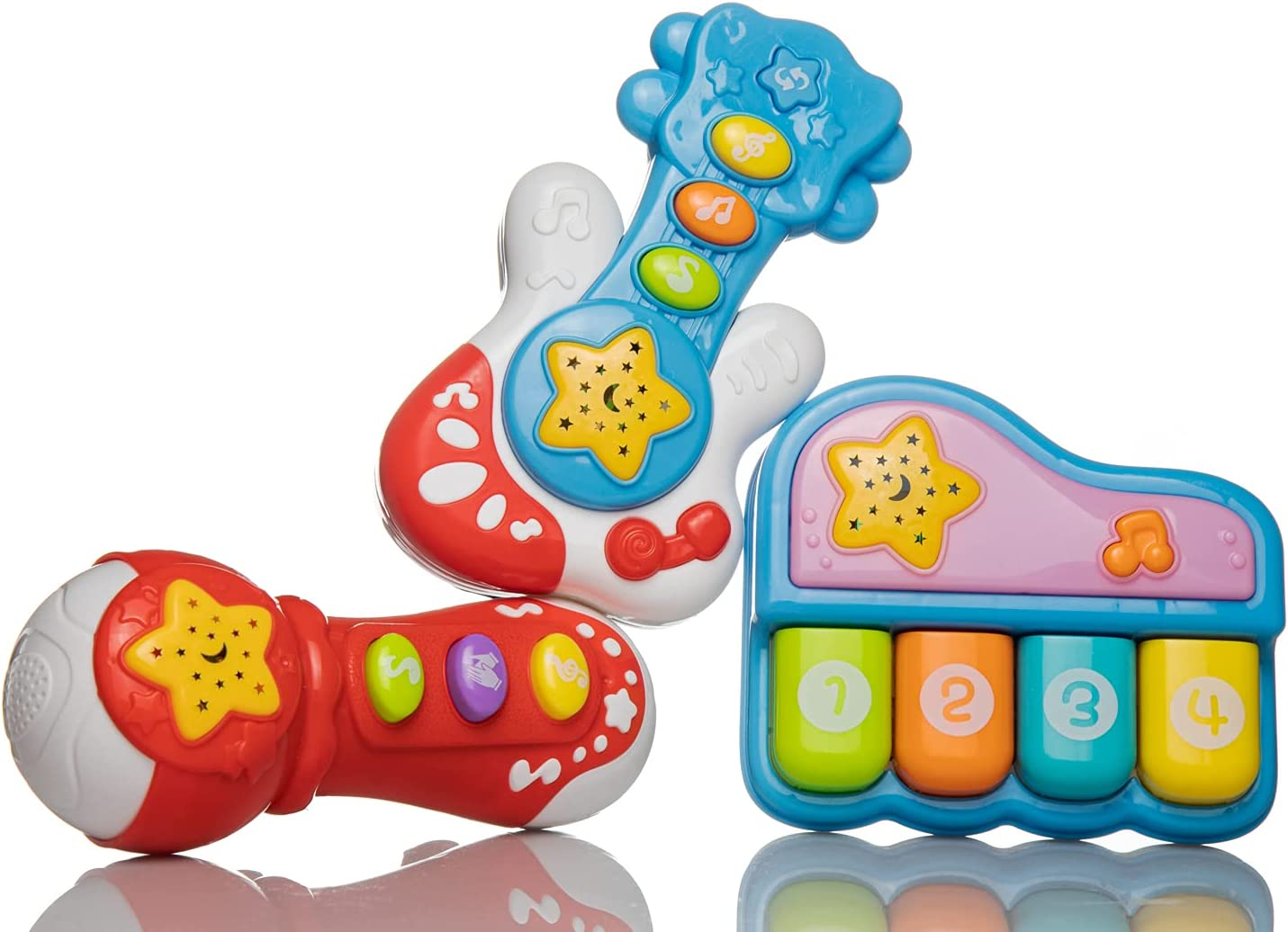 Hey Kiddo Musical Toy Set for Babies, Piano, Guitar and Mic with Songs, Music Sounds and Effects, Toddler or Baby's Educational Toy for 18 Months Up