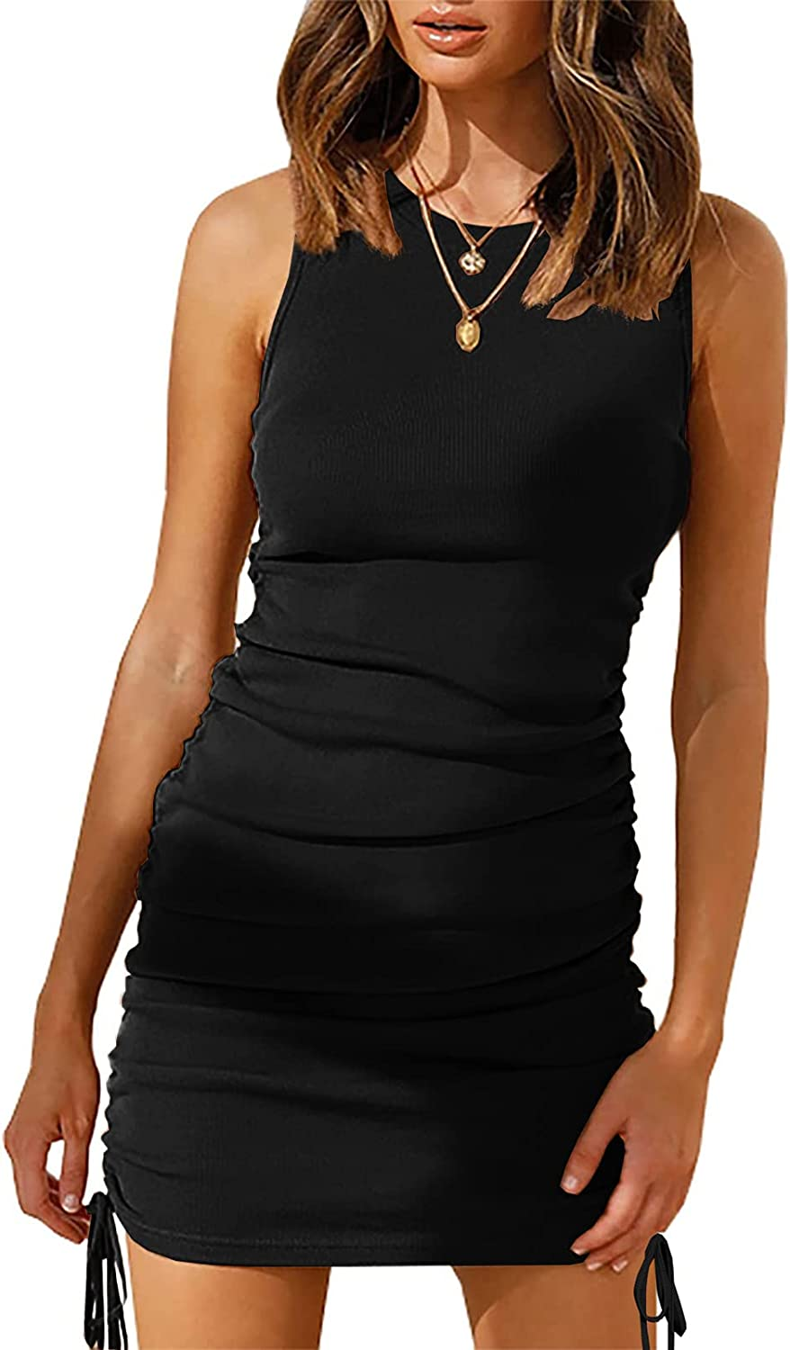Women Sleeveless Bodycon Ruched Short Dress Side Drawstring Solid Crew Neck Casual Summer Tank Mini Dresses