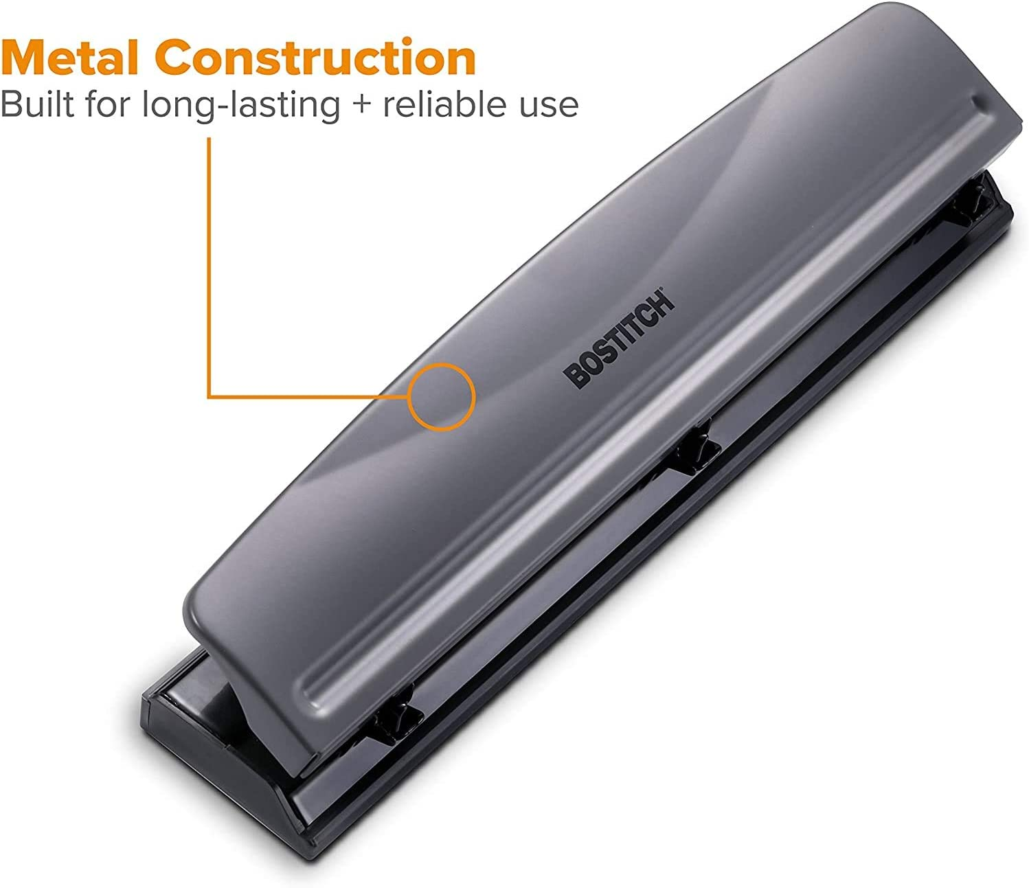 Gray Bostitch Office Black 1-Count 3 Hole Punch 12 Sheets