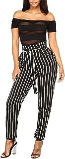 aihihe High Waist Pants for Women Elegant Casual Elastic Waist Wide Leg Outdoor Work Pants with Pockets