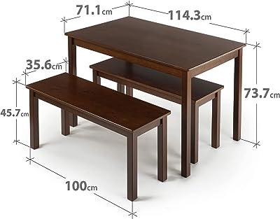 Table à manger en bois avec 2 bancs 114 cm ZINUS Juliet | Ensemble de 3 éléments en bois massif espresso | Facile à monter