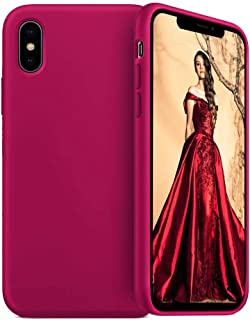 JAZ iPhone Xs Max Silicone Case Ultra Slim Liquid Silicone Gel Rubber Full Body Protection Shockproof Cover Case for iPhone Xs Max 6.5 inch (2018) - Wine Red