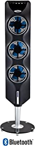 """Ozeri 3X Tower Fan (44"""") with Bluetooth and Passive Noise Reduction Technology, Black"""