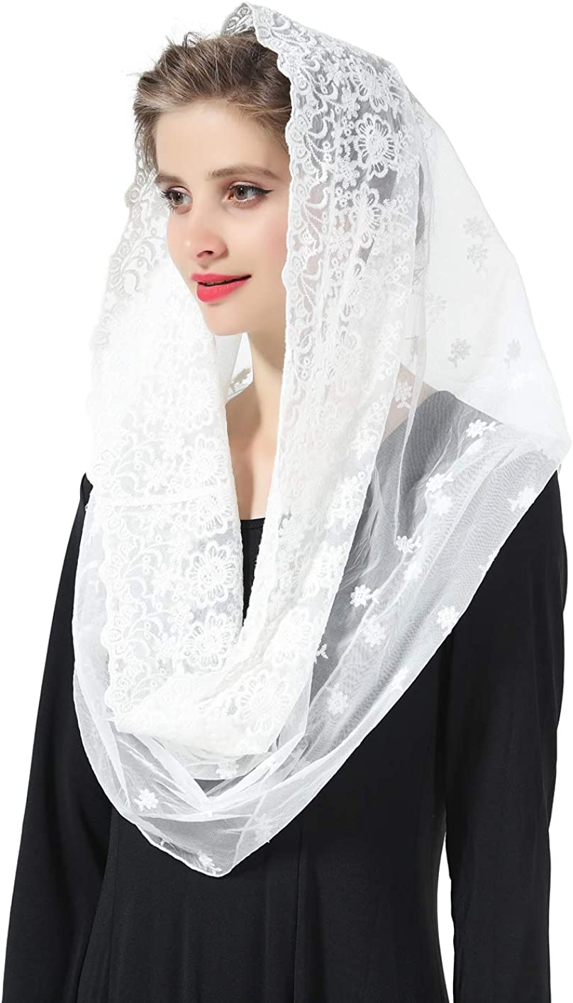 Catholic Mantilla Chapel Veil Easter Latin Mass Halloween Church Cathedral Head Covering Infinity Lace Scarf