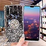 Custodia glitterata compatibile con Huawei P30 Lite, Bling Diamond trasparente in morbido silicone TPU gel di gomma con supporto ad anello e supporto trasparente per Huawei P30 Lite