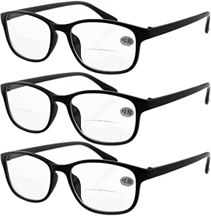 2ce4177139e Lasree 3 PRS +2.00 Classic Style Bifocals Reading Glasses Mens Womens  Spectacles Frames Readers Office
