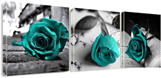 Canvas Wall Art Teal Rose Flowers Pictures Wall Decor -36
