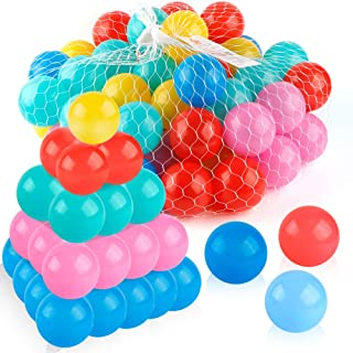 Coogam Pit Balls Pack of 50 - BPA Free 5 Color Hollow Soft Plastic Ball for 1 2 3 Years Old Toddlers Baby Kids Birthday Pool Party Favors Summer Water Bath Toy ( 6CM )