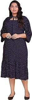 Lastinch Women's Navy Blue Polka Dot Midi Dress
