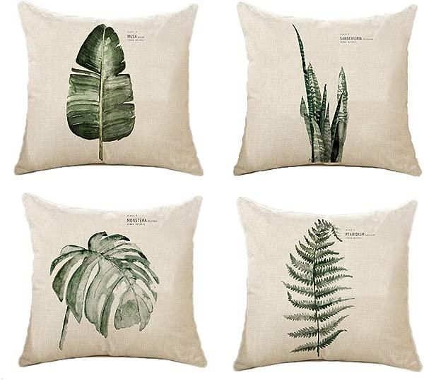 VOTENVO 4 只装热带树叶系列抱枕套装饰棉麻麻布方形户外抱枕套靠枕套家用沙发床沙发 18x18 英寸树叶