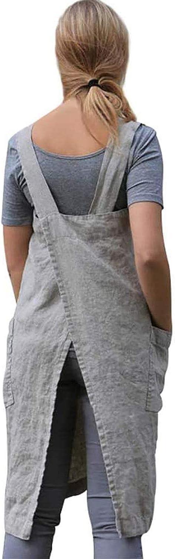 Cotton Linen Apron for women Cross Back Apron Pinafore Dress for Baking Cooking Gardening Work
