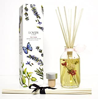 LOVSPA Spring Wild Flowers Reed Diffuser Scented Sticks Gift Set - Rose, Egyptian Jasmine, Sweet Pea, Lily of The Valley and Dark Amber - Home Decor Room Scent Diffuser with Reed Sticks