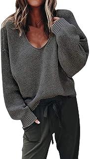 Otoño Invierno Elegante del Fuera Señoras Mujeres Hombro Jerseys Mode De Marca Casual Cuello En V De Punto Suelto Diario F...