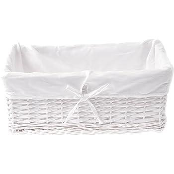 ZOHULA - Cesta de Mimbre Blanca con Forro de algodón Natural (tamaño Grande): Amazon.es: Hogar