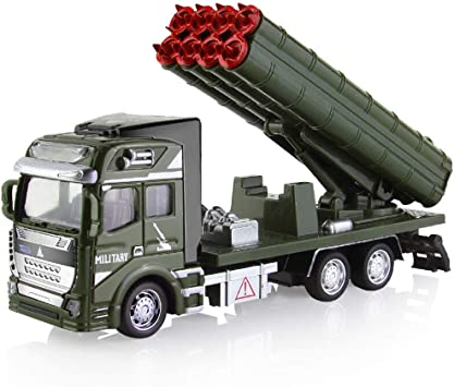 Friction Powered Alloy Military Vehicle 1:48 Army Truck Toy for Kids Gift