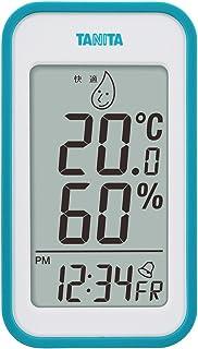 タニタ 温湿度計 温度 湿度 デジタル 壁掛け 時計付き 卓上 マグネット ブルー TT-559 BL