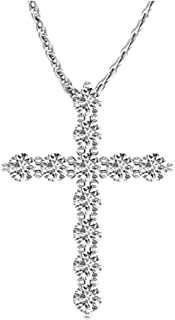 NATALIA DRAKE 2cttw Genuine Diamond White Cross Pendant in Rhodium Over Brass