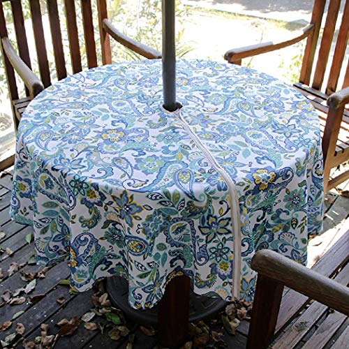 Lamberia Round Tablecloth with Umbrella Hole and Zipper for Patio Garden, Outdoor Tablecloth Waterproof Spill-Proof Polyester Fabric Table Cover (60' Round, Zippered, Paisley)
