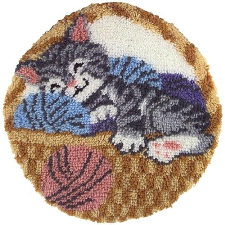 Caron Natura Round Latch-Hook Kit, Cat Nap, 24.5