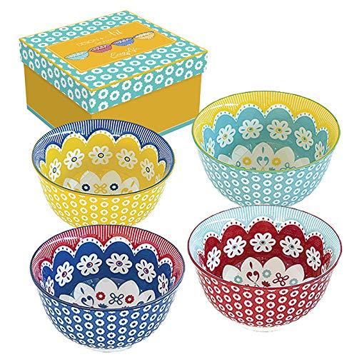 Easy Life 426DAIS - Set di 4 ciotole in ceramica, 11 cm, multicolore