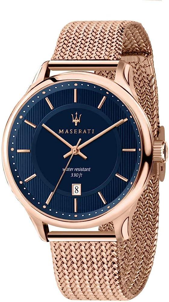 maserati orologio da uomo, collezione gentleman in acciaio e pvd oro rosa 8033288844723