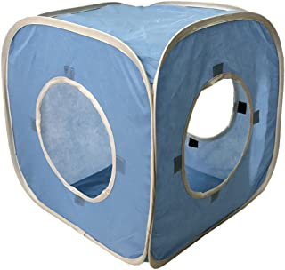 Cat Cube Pop Up Non-Woven Fabric Play Tent Toy with Hook and Loop,3 Peek Holes Collapsible, Lightweight, Provide Exercise Game for Cats, Kitties, Puppies