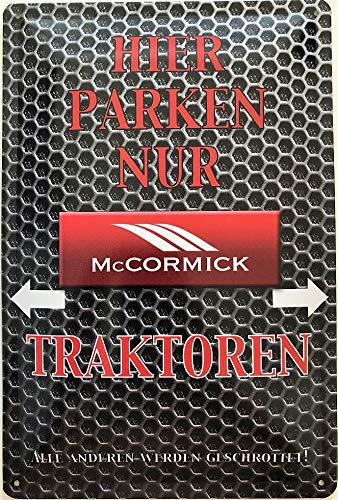 Deko7 blikken bord 30 x 20 cm Hier parkeren alleen McCormick tractoren - auto, motorfiets