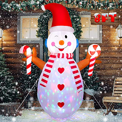 LOOHUU 8FT Christmas Inflatable Snowman with Branch Hand - Cute Fun Xmas Holiday Blow up Party Decorations for Indoor Outdoor Yard with Color Changing LED Lights