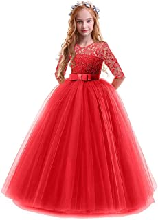 Girl's Embroidery Tulle Lace Maxi Flower Girl Wedding Dress 3/4 Sleeve Long A Line Pageant Party Formal Dance Evening Gown
