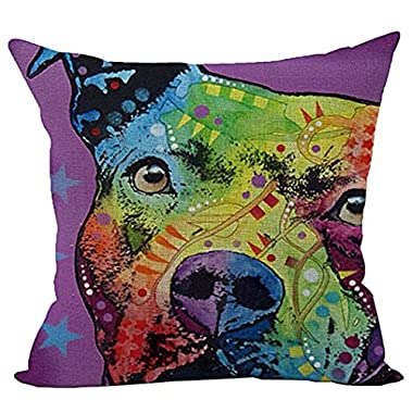 Sunward 2017 Dog Style Cotton Linen Canvas Decorative Square Throw Pillow Cover 18 x 18 (A)