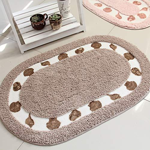 ZHOUAICHENG vloertapijten tapijt voor woonkamer keuken ovaal waterabsorberend anti-slip vloermat tapijt slaapkamer badmat, bruin, 50X80cm