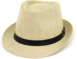 Hats with Leather Belt Outdoor Caps Men and Women's Straw Panama Sun Fedora Hat Fashion (Color : Beige, Size : M)