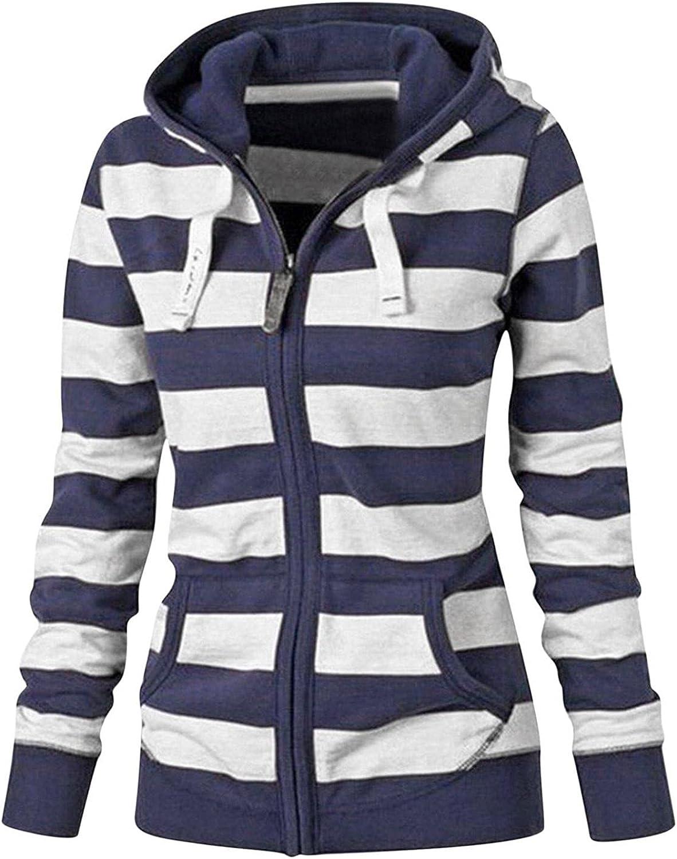 Hotkey Sweatshirt for Women Long Sleeve Zip-Up Hoodie Jacket Stripe Print Outerwear Hooded Sweatshirts Slim Coats with Pocket