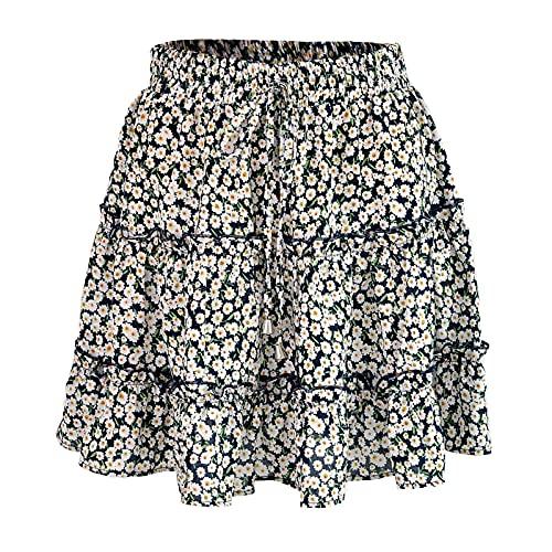 Dam Boho kjol Blommig sommarklänning Elastisk midja Korta kjolar Strandkjol med bälte Casual Kort kjol Blommönster Mini kjol (Color : A, Size : M)