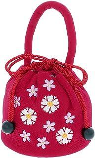 [ 京都きもの町 ] 七五三 巾着単品「ラズベリーレッド お花の刺繍」桃の節句、ひな祭り