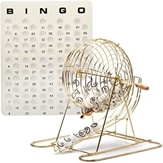 GSE Games & Sports Expert Professional Bingo Game Set with Large Bingo Cage, 1.5-Inch Ping Pong Style Bingo Balls, Plastic Masterboard
