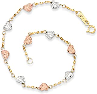 14k Tri Color Yellow White Gold Puff Heart Bracelet 7 Inch Love Necklace Pendant Charm Fine Jewelry For Women Gifts For Her