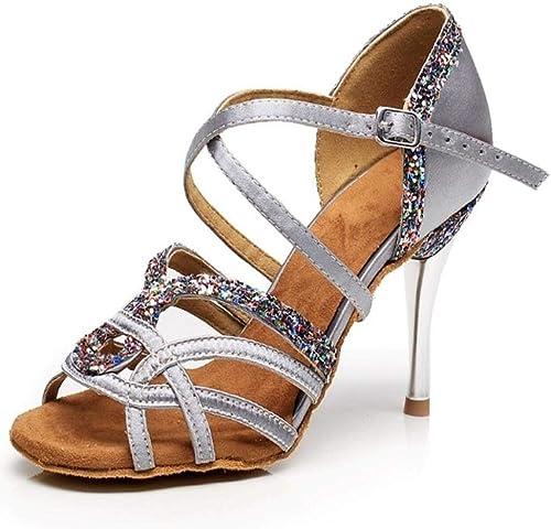 mujeres salón de Baile Latino zapatos de Suela de Gamuza mujer Kizomba Bachata Samba Social Salsa zapatos de Baile de tacón Alto 8.5 cm VA30