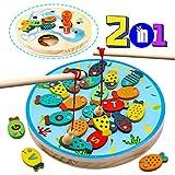 jerryvon Jouet de Pêche Magnétique en Bois avec Double Face Jeux Educatif Montessori Cadeau Créatif pour Filles Garcon Enfant 3 4 5 6 7 Ans
