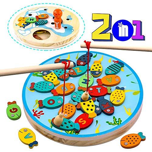 jerryvon Angelspiel Holz Magnet Fisch Spielzeug Lernspiele mit Magnetstangen Brettspiele Pädagogisches Holzspielzeug für Kinder ab 3 4 5 Jahren