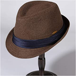 QinMei Zhou Hat Male Winter Wool Warm Black Fedora Hat Ladies Winter Fashion Tide Korean Version Of The Solid Color Felt Hat Jazz Hat