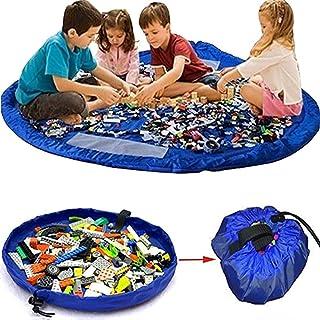 Toy Storage Bag Mat,Storage Bags Foldable Rug Portable Organizer Toys Kids Play Mat 60 inch (150cm) (Blue)