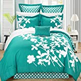 Iris Turquoise & White Queen 11 Piece Comforter Bed In A Bag Set