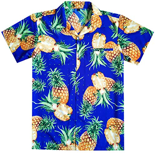 Virgin Crafts Mens hawaiana Camicia Funky Beach Party ananas tagliato blu 3XL