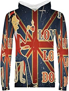 British 3D Hoodie Sweatshirt,I Love London Quote with English Man on UK Flag Backdrop National Design for Kids Boys Girls,XS