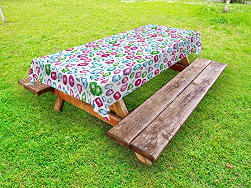 """Ambesonne Diamond Outdoor Tablecloth, Heart Geometric Shaped Colorful Little Diamonds Precious Gemstones Crystals Pattern, Decorative Washable Picnic Table Cloth, 58"""" X 120"""", Purple Pink"""