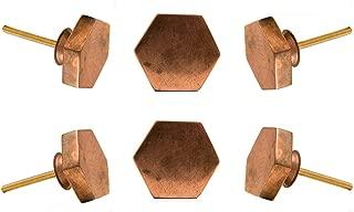 Set of 6 Cabinet Knobs Copper Hexagonal Handmade Drawer Pull Diameter 1.6