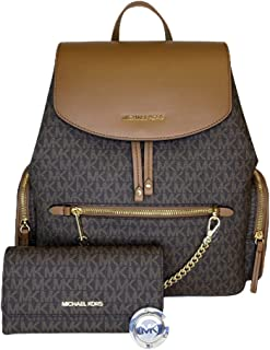 MICHAEL Michael Kors Jet Set Large Chain Backpack bundled with Large Trifold Wallet and Michael Kors Purse Hook