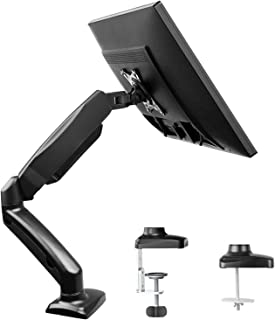 Single Monitor Stand - Articulating Gas Spring Monitor Arm, Adjustable VESA Mount Desk Stand with Clamp and Grommet Base - Fits 13 to 27 Inch LCD Computer Monitors, VESA 75x75, 100x100